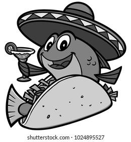 Fish Taco Cartoon Illustration - A vector cartoon illustration of a Fish Taco concept.