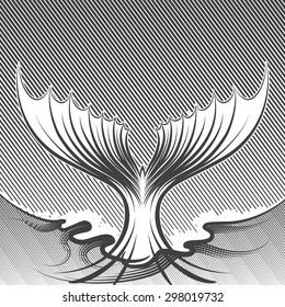 Fish tail illustration. Engraving style. Monochrome on white background.
