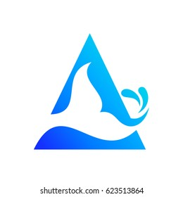 Fish Tail Logo. Fish Tail in Triangle Shape. Fish Tail Letter A Logo