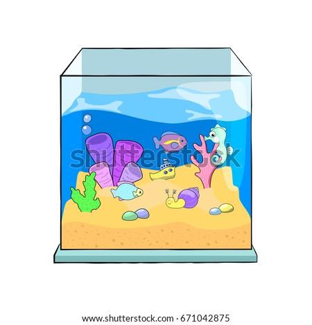 Fish Tank Cartoon Vector Illustration Cute Stock Vector Royalty
