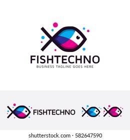 Fish Technology, abstract, digital, technology, fish, animal, flat, symbol, brand, studio. Vector logo template