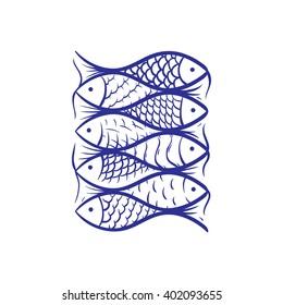 fish texture. ornament. design element. hand-drawing.