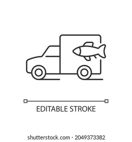 Fish transporting linear icon. Commercial transportation of aquaculture products. Thin line customizable illustration. Contour symbol. Vector isolated outline drawing. Editable stroke