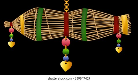 fish trap  thai amulet to luck graphic vector