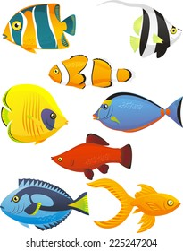 Fish Tropical Fishes Shoal, with eight 8 different fish in different colors and sizes. Fish vector illustration cartoon.