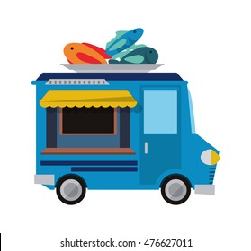 fish truck delivery fast food urban business icon. Flat and isolated design. Vector illustration
