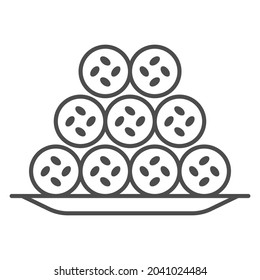 Fish tubes in batter thin line icon, asian food concept, japanese tempura chikuwa kamaboko vector sign on white background, outline style icon for mobile concept and web design. Vector graphics.