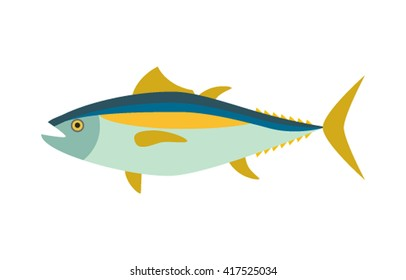 Fish tuna in cartoon style. Plane icon isolated on a white background.Vector illustration