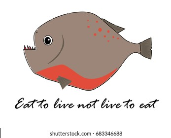 Fish vector cartoon illustration for t shirt design with piranha red belly icon theme