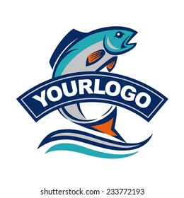 Fish vector design logo template. Seafood restaurant idea.