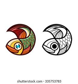 Fish vector design logo template. Seafood restaurant idea.