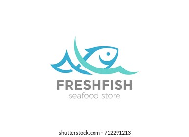 Fish in water Logo design vector template. Seafood restaurant shop store Logotype concept icon.