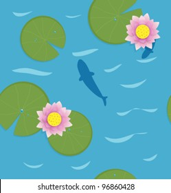 Fish with Water Lotus. Vector pattern.