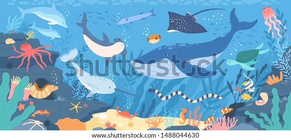Fish and wild marine animals in ocean. Sea world dwellers, cute underwater creatures, coral reef inhabitants in their natural habitat, undersea fauna of tropics. Flat cartoon vector illustration.