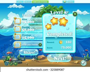 Fish world - Example of window level completion in cartoon style  for video or web design, game user interface