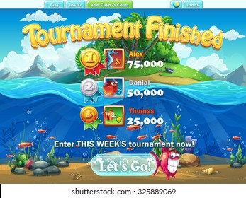 Fish world - tournament finished  for video or web design, game user interface