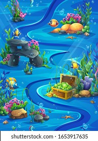 Fish world vertical seamless - vector illustration map field. Bright background image to create original video or web games, graphic design, screen savers.