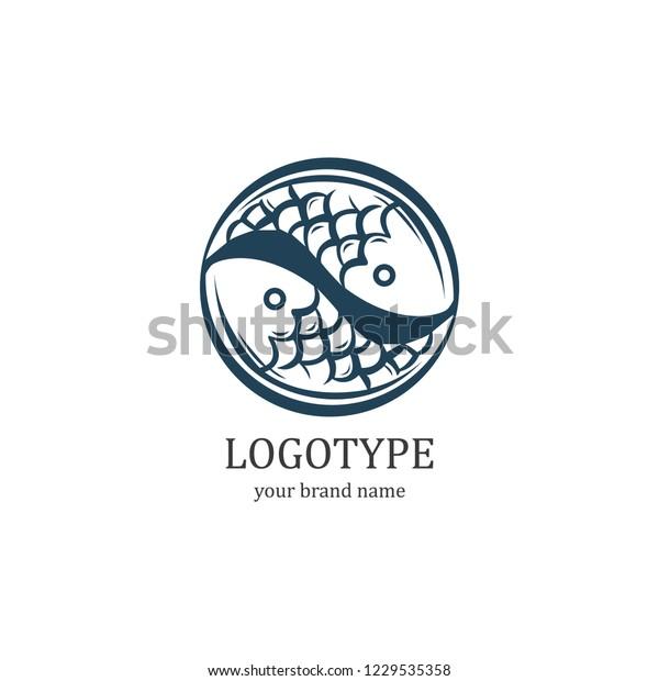 Fish Yin Yang Logo Stock Vector Royalty Free 1229535358