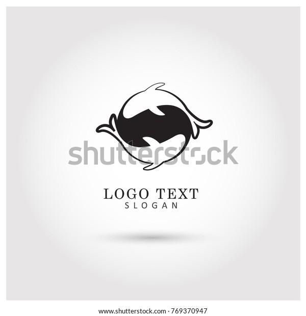 Fish Yin Yang Logo Vector Icon Stock Vector Royalty Free 769370947