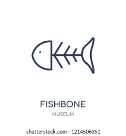 Fishbone icon. Fishbone linear symbol design from Museum collection. Simple outline element vector illustration on white background.