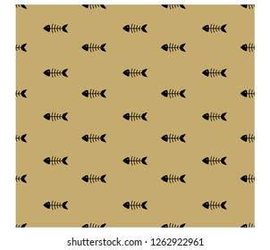Fishbone icon seamless pattern on gold background
