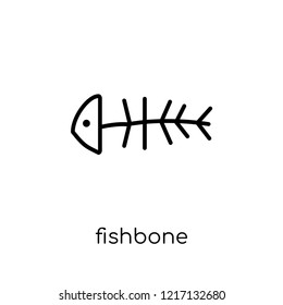 fishbone icon. Trendy modern flat linear vector fishbone icon on white background from thin line collection, outline vector illustration