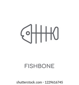 Fishbone linear icon. Modern outline Fishbone logo concept on white background from Museum collection. Suitable for use on web apps, mobile apps and print media.