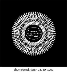fishbowl with fish icon drawn chalk emblem, retro style, chalk or chalkboard texture