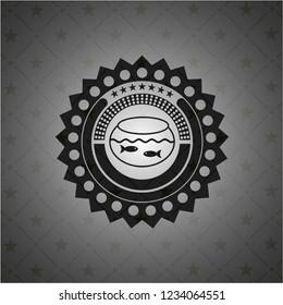 fishbowl with fish icon inside black emblem