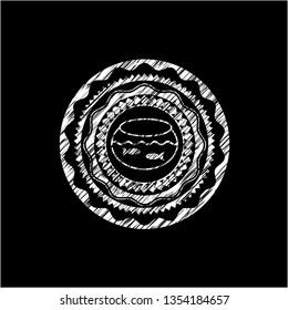 fishbowl with fish icon inside chalkboard emblem