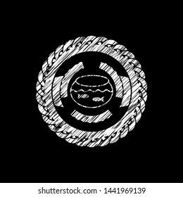 fishbowl with fish icon inside chalkboard emblem written on a blackboard