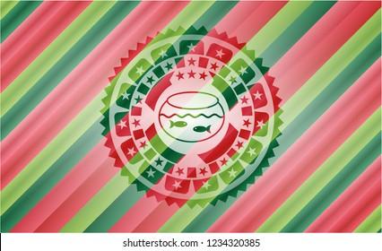 fishbowl with fish icon inside christmas badge.