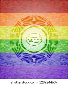 fishbowl with fish icon inside emblem on mosaic background with the colors of the LGBT flag