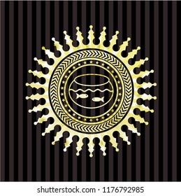fishbowl with fish icon inside gold shiny emblem