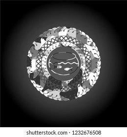 fishbowl with fish icon inside grey camouflage texture