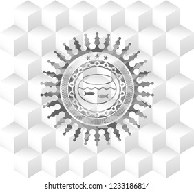 fishbowl with fish icon inside grey badge with geometric cube white background