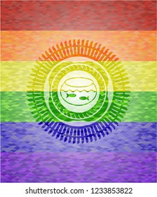 fishbowl with fish icon inside lgbt colors emblem