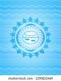 fishbowl with fish icon inside light blue water wave style badge.
