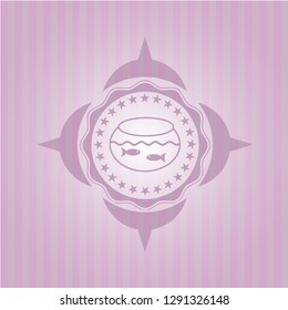 fishbowl with fish icon inside pink icon or emblem