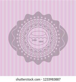 fishbowl with fish icon inside retro style pink emblem