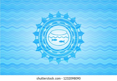 fishbowl with fish icon inside sky blue water emblem.