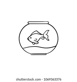 Fishbowl hand drawn outline doodle icon. Vector sketch illustration of fishbowl for print, web, mobile and infographics isolated on white background.