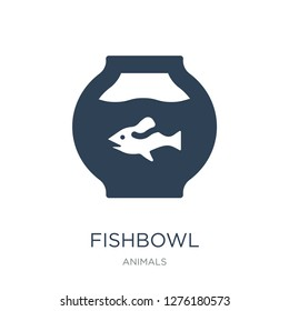 fishbowl icon vector on white background, fishbowl trendy filled icons from Animals collection, fishbowl vector illustration