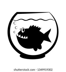 Fishbowl with piranha fish. Aquarium, sea life, underwater. Vector illustration, flat design, black and white.