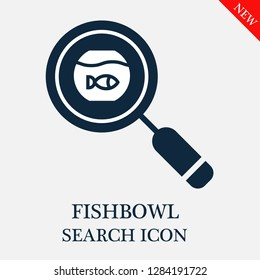 Fishbowl search icon. Editable Fishbowl search icon for web or mobile.