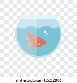 Fishbowl vector icon isolated on transparent background, Fishbowl logo concept