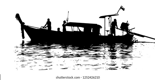 Fisher boat vector