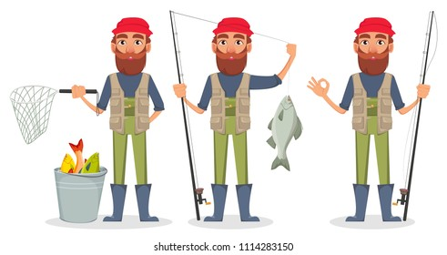 Fisher cartoon character, set of three poses. Fishermen with fishing rod and fish, with bucket and with fishing rod. Vector illustration