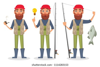 Fisher cartoon character, set of three poses. Fishermen with smoking pipe, with a good idea and with fishing rod and fish. Vector illustration