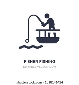 fisher fishing icon on white background. Simple element illustration from Sports concept. fisher fishing icon symbol design.